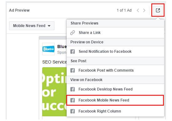 How to preview Facebook Ad on a mobile device